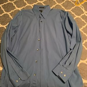 2 men's Express blue dress shirts